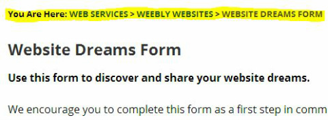 Sample Weebly Website Breadcrumbs Links Trail